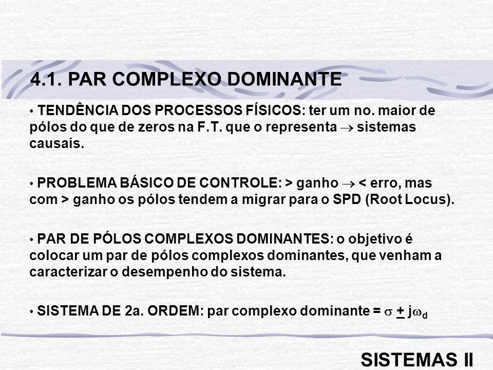 TENDÊNCIA DOS PROCESSOS FÍSICOS: ter um no. maior de pólos do que de zeros na F.T. que o representa sistemas causais. PROBLEMA BÁSICO DE CONTROLE: > g
