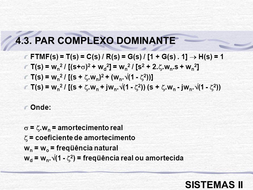 FTMF(s) = T(s) = C(s) / R(s) = G(s) / [1 + G(s). 1] H(s) = 1 T(s) = w n 2 / [(s+ ) 2 + w d 2 ] = w n 2 / [s 2 + 2..w n.s + w n 2 ] T(s) = w n 2 / [(s