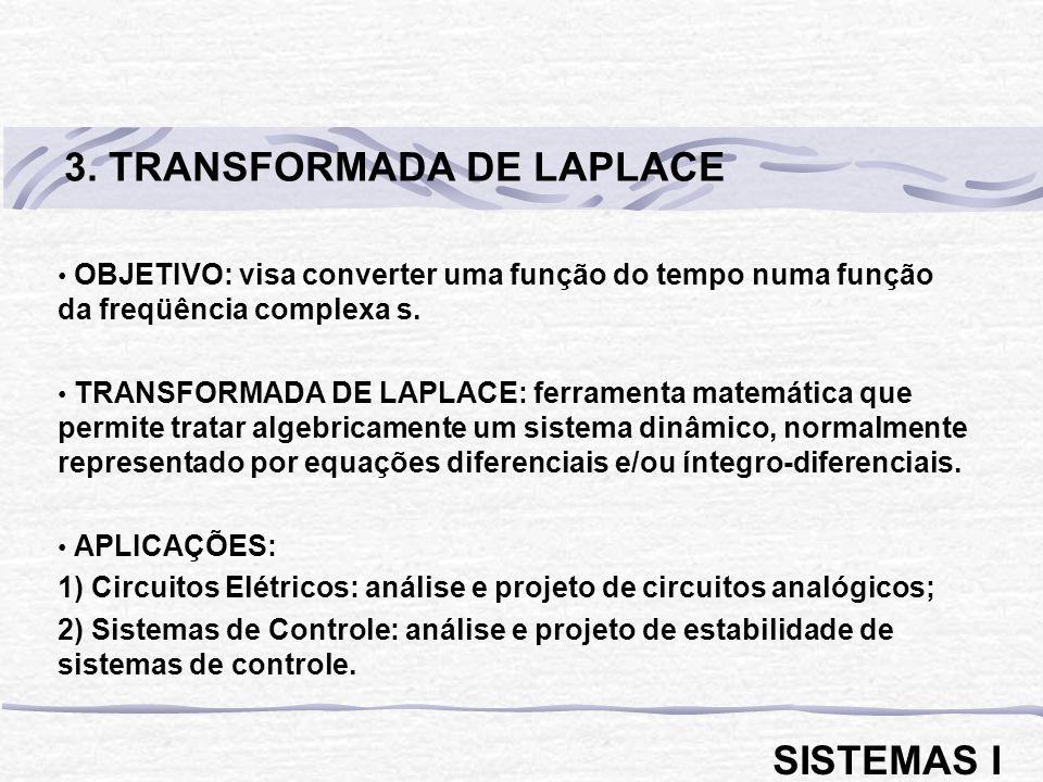 OBJETIVO: visa converter uma função do tempo numa função da freqüência complexa s. TRANSFORMADA DE LAPLACE: ferramenta matemática que permite tratar a