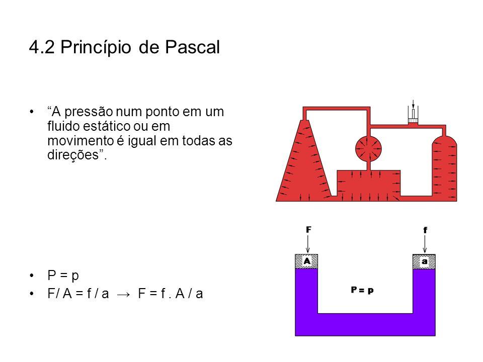 4.2 Princípio de Pascal A pressão num ponto em um fluido estático ou em movimento é igual em todas as direções. P = p F/ A = f / a F = f. A / a