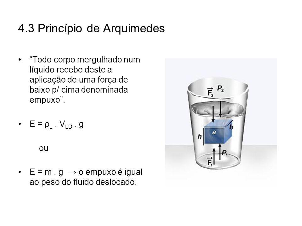 4.3 Princípio de Arquimedes Todo corpo mergulhado num líquido recebe deste a aplicação de uma força de baixo p/ cima denominada empuxo. E = ρ L. V LD.