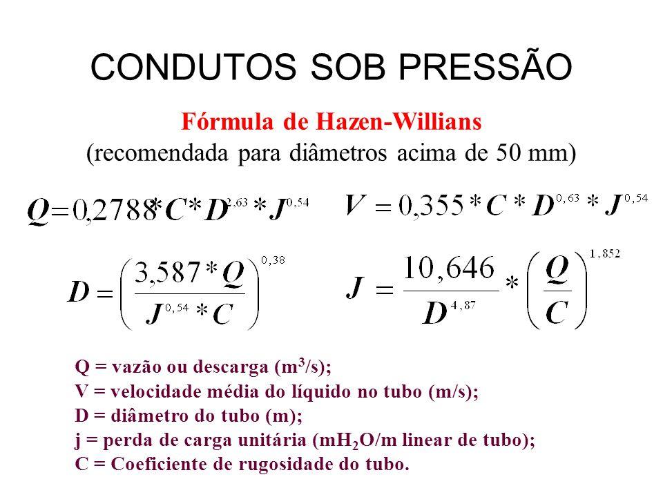 Fórmula de Hazen-Willians (recomendada para diâmetros acima de 50 mm) Q = vazão ou descarga (m 3 /s); V = velocidade média do líquido no tubo (m/s); D