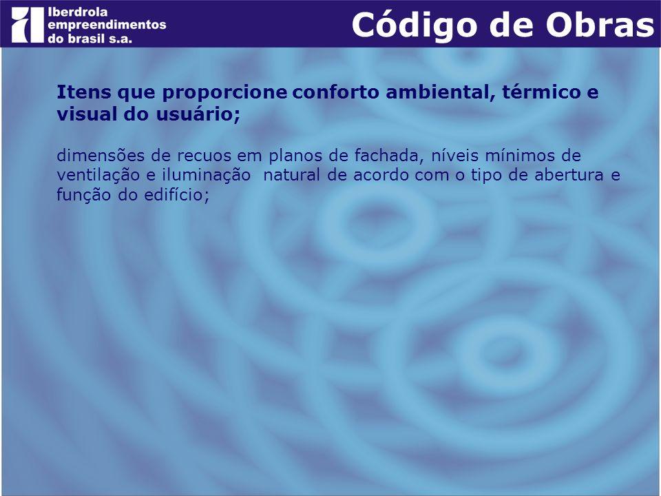 Código de Obras Itens que proporcione conforto ambiental, térmico e visual do usuário; dimensões de recuos em planos de fachada, níveis mínimos de ven