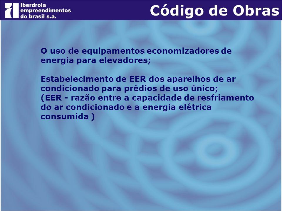 O uso de equipamentos economizadores de energia para elevadores; Estabelecimento de EER dos aparelhos de ar condicionado para prédios de uso único; (E