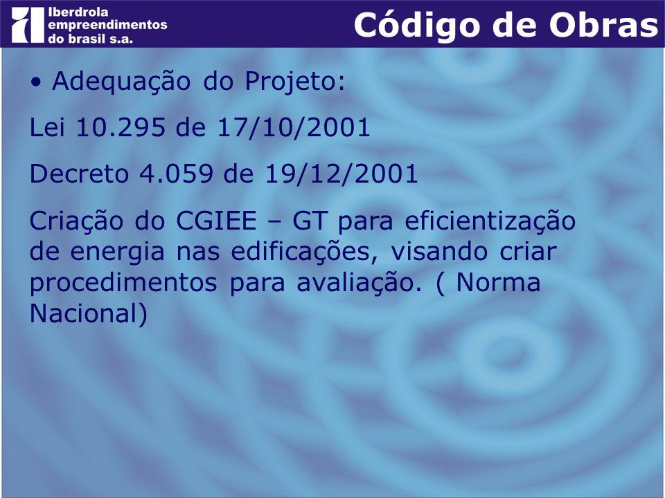 Adequação do Projeto: Lei 10.295 de 17/10/2001 Decreto 4.059 de 19/12/2001 Criação do CGIEE – GT para eficientização de energia nas edificações, visan