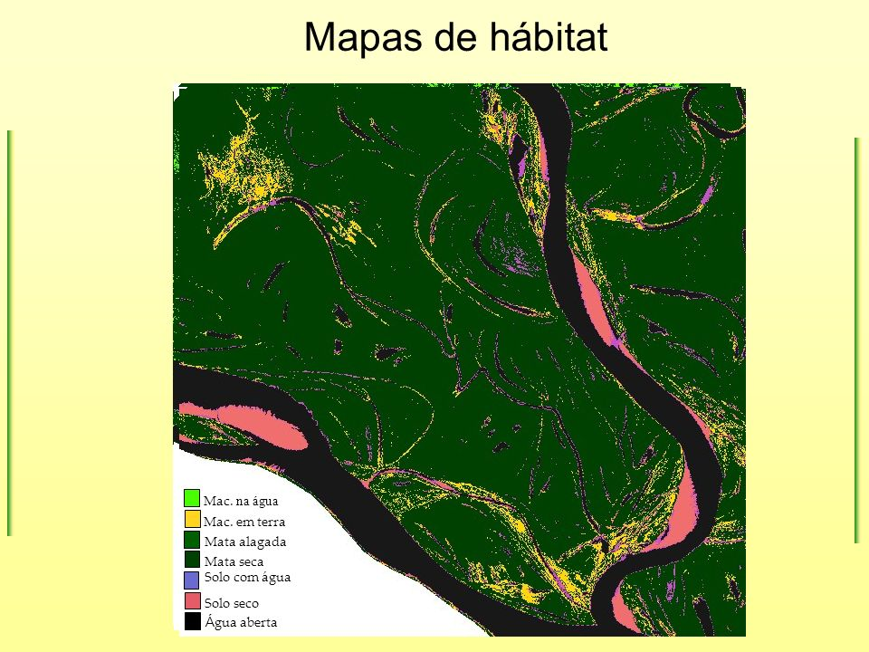 Mac. na água Mac. em terra Á gua aberta Mata alagada Solo seco Mata seca Solo com água Mapas de hábitat