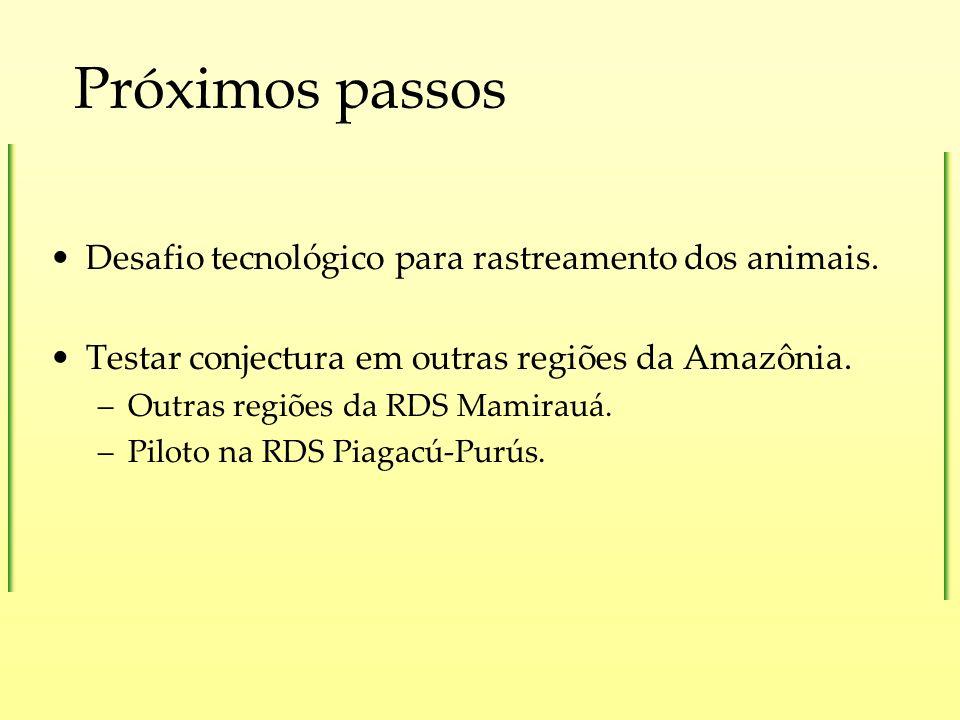 Próximos passos Desafio tecnológico para rastreamento dos animais. Testar conjectura em outras regiões da Amazônia. –Outras regiões da RDS Mamirauá. –
