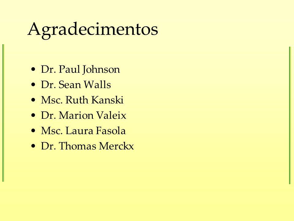 Agradecimentos Dr. Paul Johnson Dr. Sean Walls Msc. Ruth Kanski Dr. Marion Valeix Msc. Laura Fasola Dr. Thomas Merckx