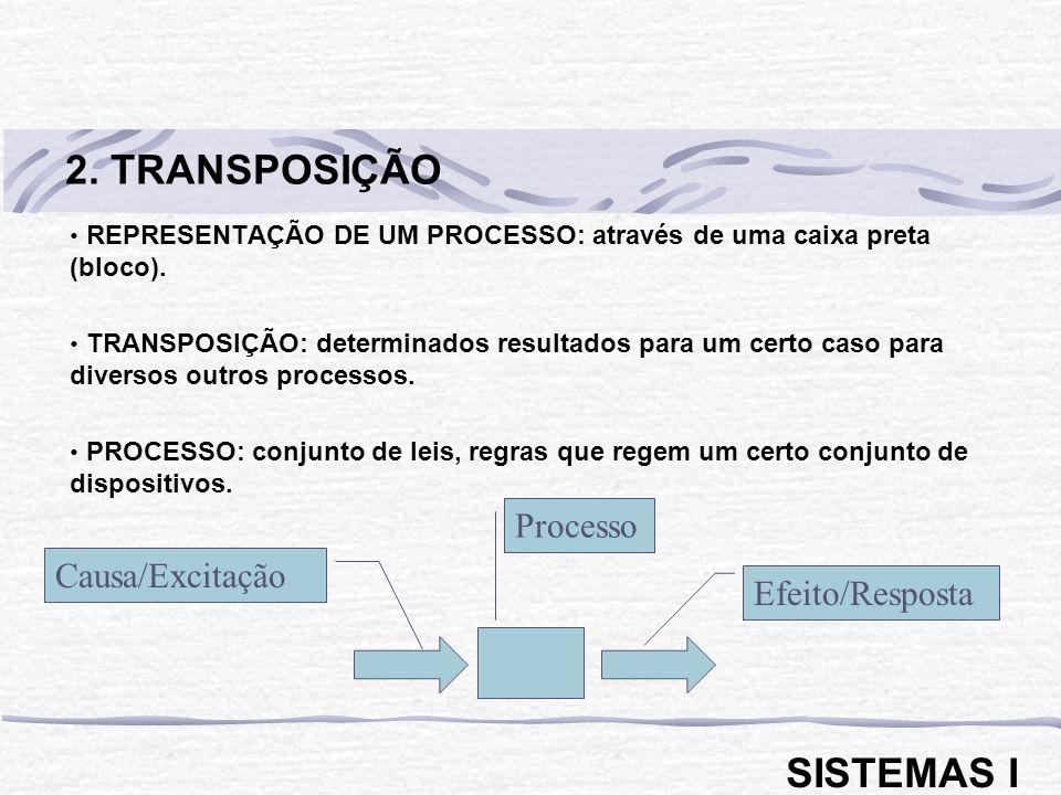 REPRESENTAÇÃO DE UM PROCESSO: através de uma caixa preta (bloco). TRANSPOSIÇÃO: determinados resultados para um certo caso para diversos outros proces
