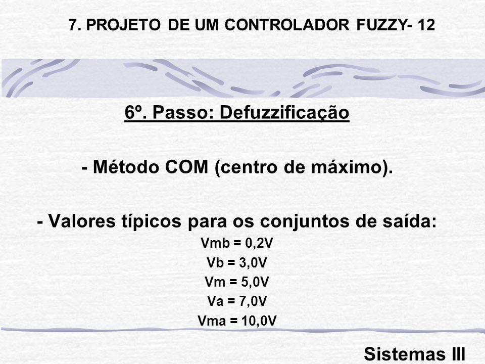 6º. Passo: Defuzzificação - Método COM (centro de máximo). - Valores típicos para os conjuntos de saída: Vmb = 0,2V Vb = 3,0V Vm = 5,0V Va = 7,0V Vma