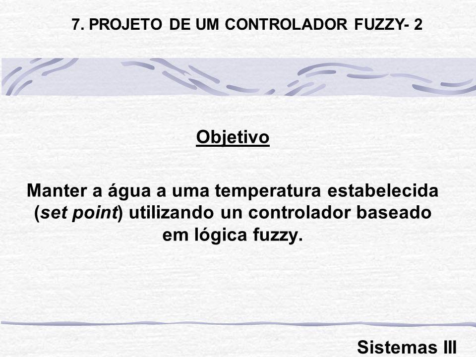 Objetivo Manter a água a uma temperatura estabelecida (set point) utilizando un controlador baseado em lógica fuzzy. 7. PROJETO DE UM CONTROLADOR FUZZ