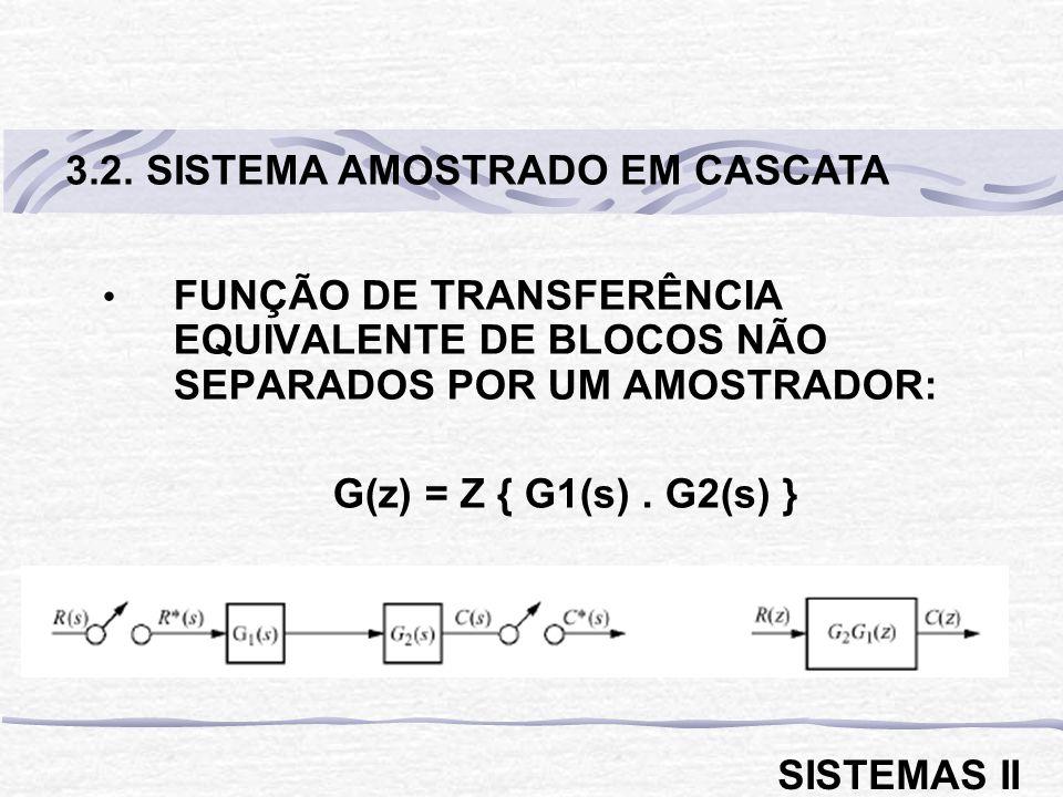 FUNÇÃO DE TRANSFERÊNCIA EQUIVALENTE DE BLOCOS NÃO SEPARADOS POR UM AMOSTRADOR: G(z) = Z { G1(s). G2(s) } 3.2. SISTEMA AMOSTRADO EM CASCATA SISTEMAS II