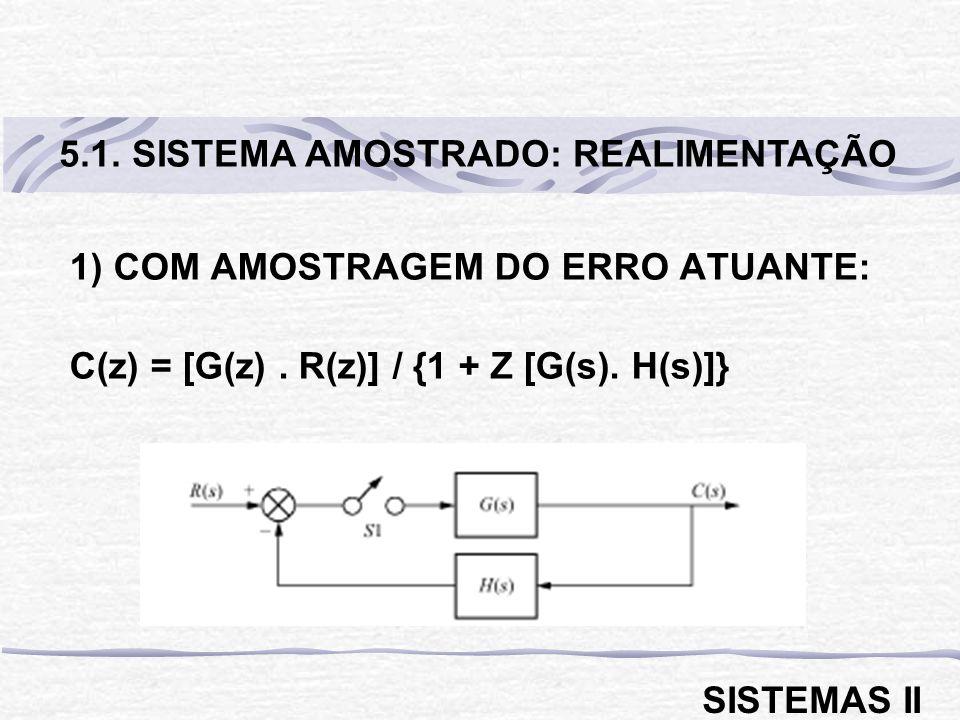 1) COM AMOSTRAGEM DO ERRO ATUANTE: C(z) = [G(z). R(z)] / {1 + Z [G(s). H(s)]} 5.1. SISTEMA AMOSTRADO: REALIMENTAÇÃO SISTEMAS II