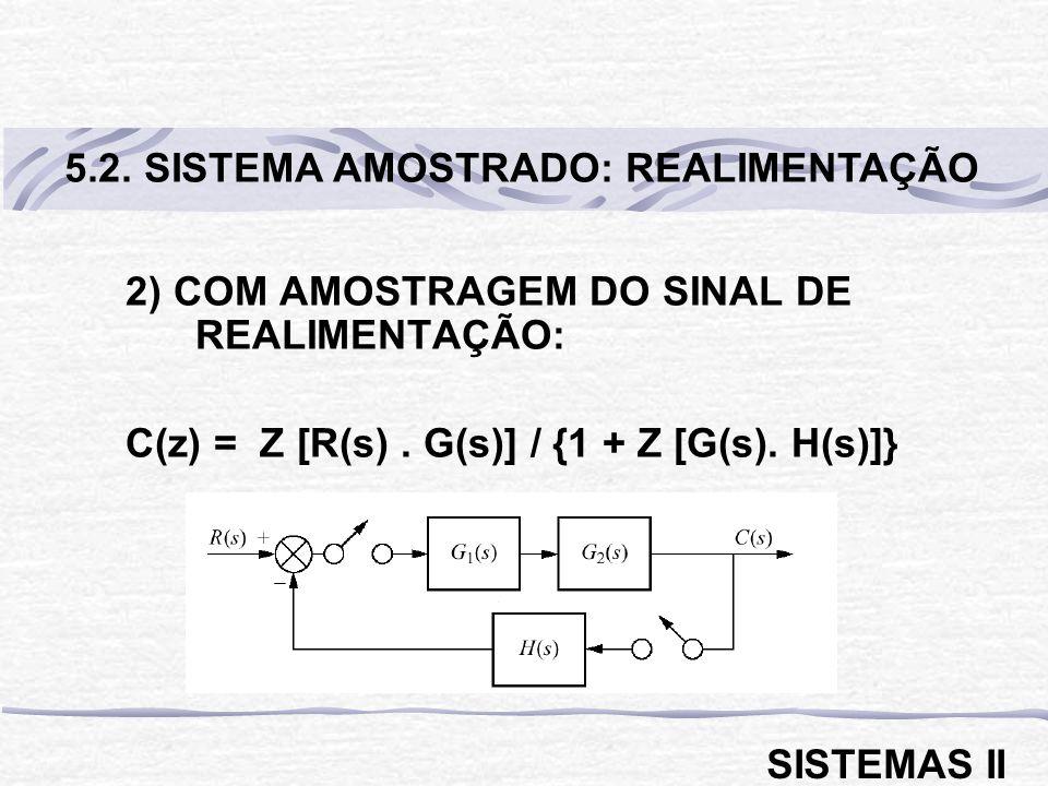 2) COM AMOSTRAGEM DO SINAL DE REALIMENTAÇÃO: C(z) = Z [R(s). G(s)] / {1 + Z [G(s). H(s)]} 5.2. SISTEMA AMOSTRADO: REALIMENTAÇÃO SISTEMAS II