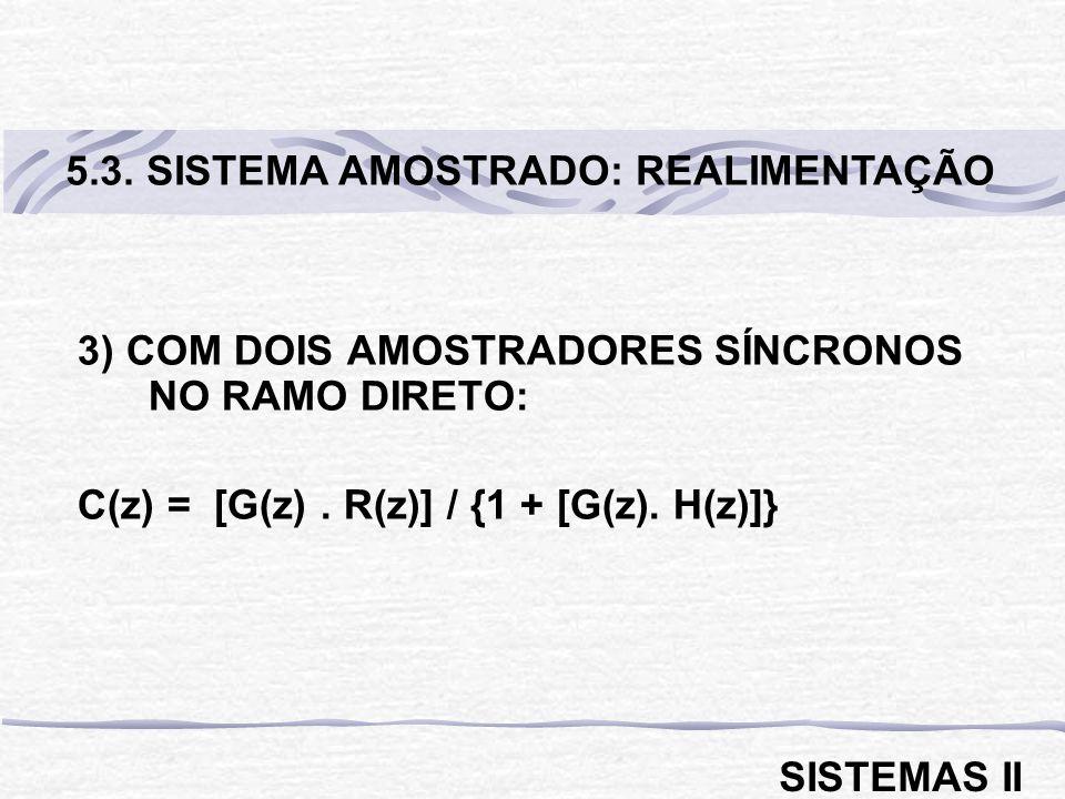 3) COM DOIS AMOSTRADORES SÍNCRONOS NO RAMO DIRETO: C(z) = [G(z). R(z)] / {1 + [G(z). H(z)]} 5.3. SISTEMA AMOSTRADO: REALIMENTAÇÃO SISTEMAS II