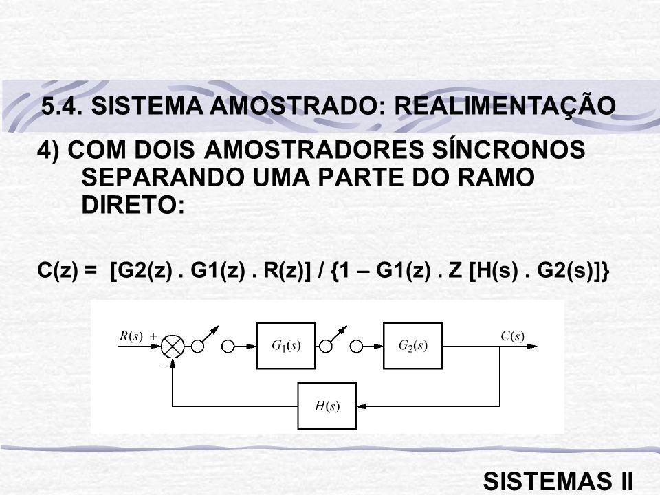 4) COM DOIS AMOSTRADORES SÍNCRONOS SEPARANDO UMA PARTE DO RAMO DIRETO: C(z) = [G2(z). G1(z). R(z)] / {1 – G1(z). Z [H(s). G2(s)]} 5.4. SISTEMA AMOSTRA