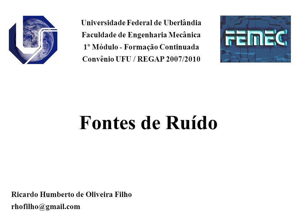 Universidade Federal de Uberlândia Faculdade de Engenharia Mecânica 1º Módulo - Formação Continuada Convênio UFU / REGAP 2007/2010 Ricardo Humberto de