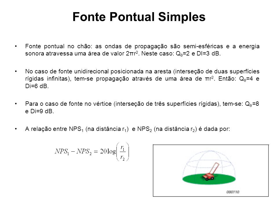Fonte Pontual Simples Fonte pontual no chão: as ondas de propagação são semi-esféricas e a energia sonora atravessa uma área de valor 2πr 2. Neste cas