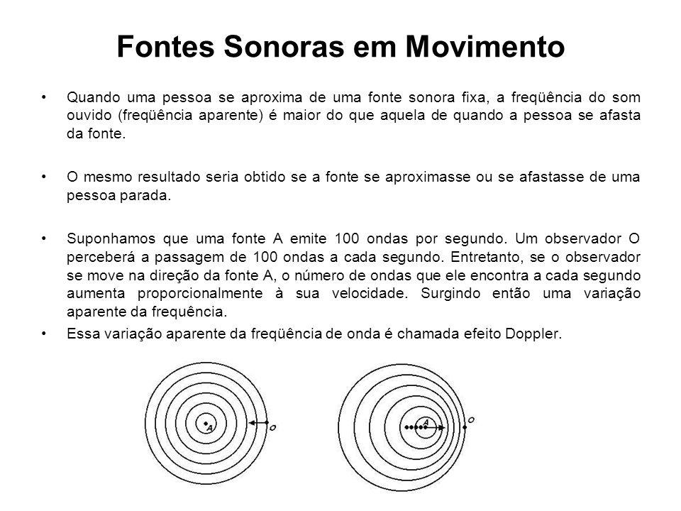 Fontes Sonoras em Movimento Quando uma pessoa se aproxima de uma fonte sonora fixa, a freqüência do som ouvido (freqüência aparente) é maior do que aq