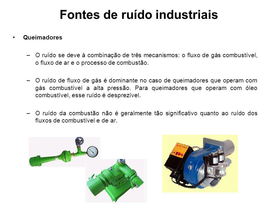 Fontes de ruído industriais Queimadores –O ruído se deve à combinação de três mecanismos: o fluxo de gás combustível, o fluxo de ar e o processo de co