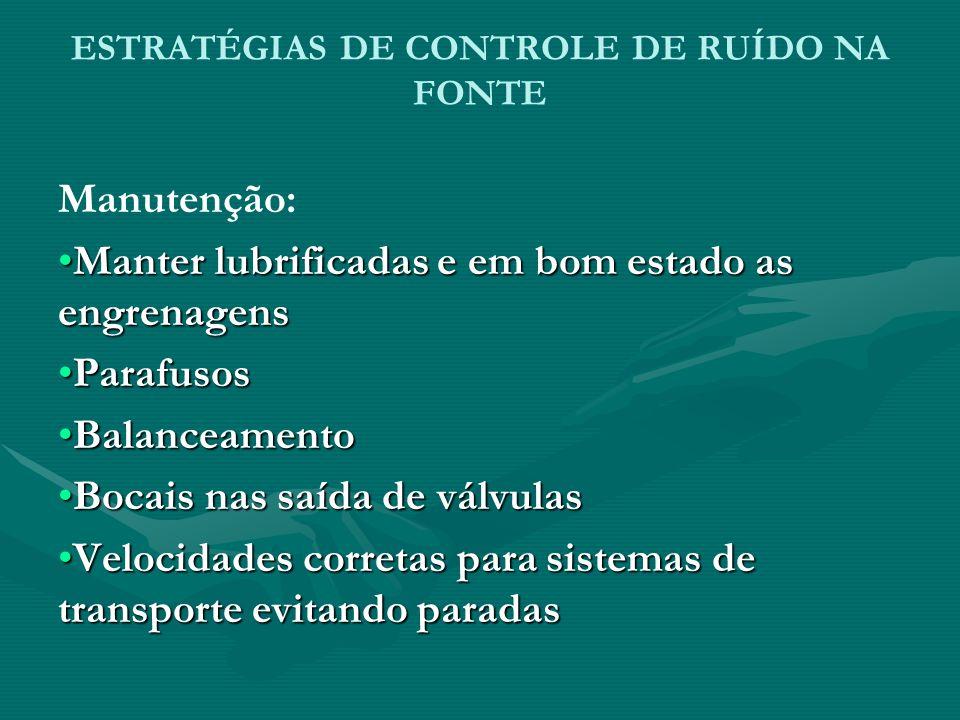ESTRATÉGIAS DE CONTROLE DE RUÍDO NA FONTE Manutenção: Manter lubrificadas e em bom estado as engrenagensManter lubrificadas e em bom estado as engrena