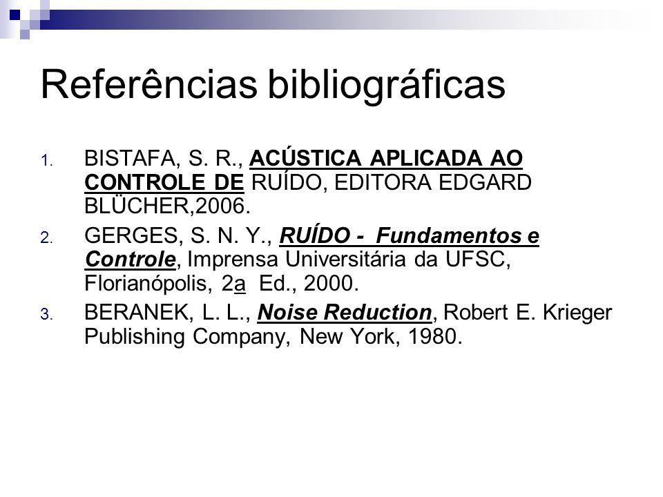 Referências bibliográficas 1. BISTAFA, S. R., ACÚSTICA APLICADA AO CONTROLE DE RUÍDO, EDITORA EDGARD BLÜCHER,2006. 2. GERGES, S. N. Y., RUÍDO - Fundam