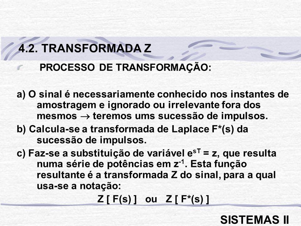 PROCESSO DE TRANSFORMAÇÃO: a) O sinal é necessariamente conhecido nos instantes de amostragem e ignorado ou irrelevante fora dos mesmos teremos ums sucessão de impulsos.