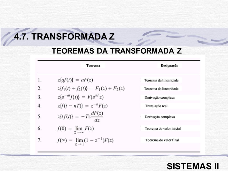 TEOREMAS DA TRANSFORMADA Z 4.7. TRANSFORMADA Z SISTEMAS II