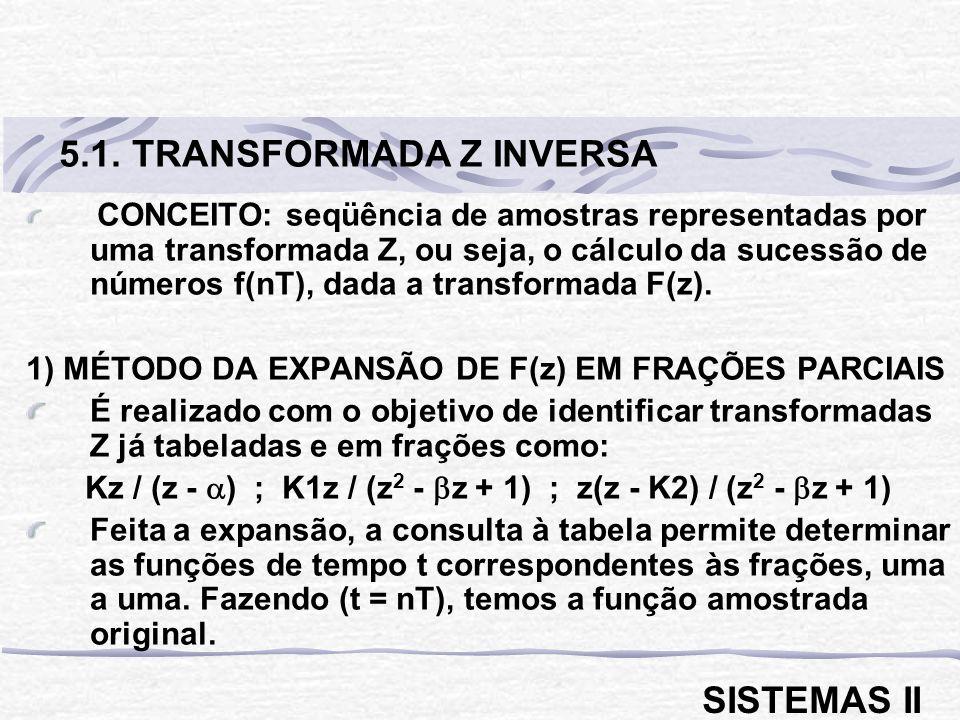 CONCEITO: seqüência de amostras representadas por uma transformada Z, ou seja, o cálculo da sucessão de números f(nT), dada a transformada F(z).