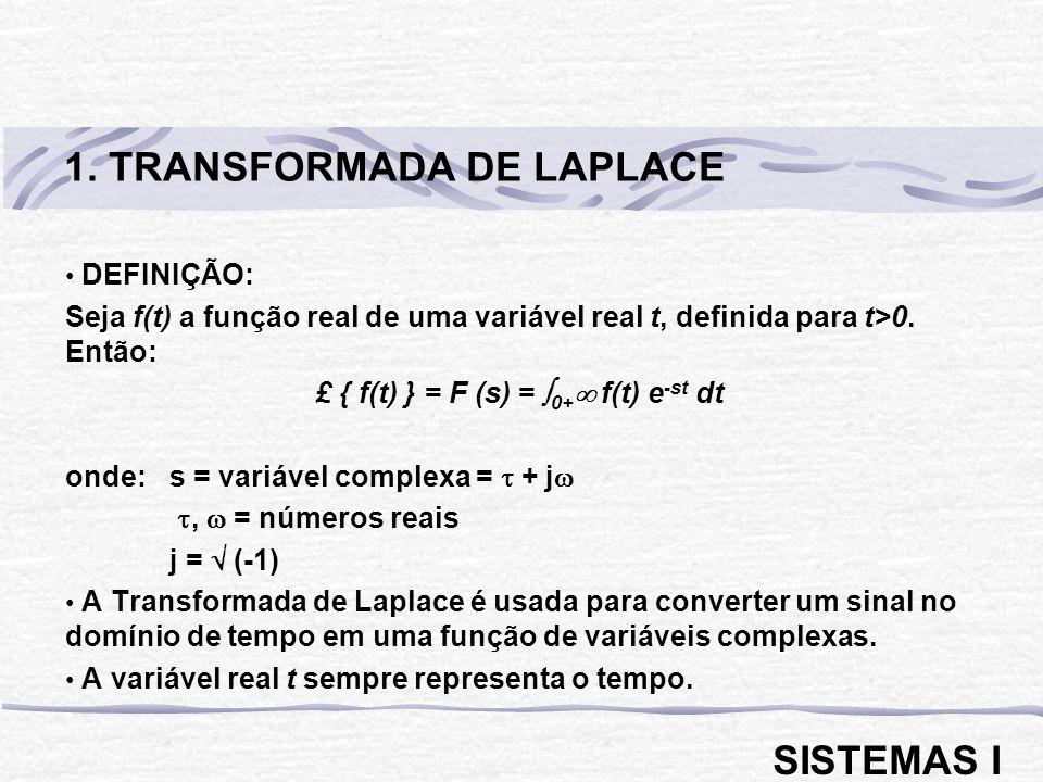 DEFINIÇÃO: Seja f(t) a função real de uma variável real t, definida para t>0. Então: £ { f(t) } = F (s) = 0+ f(t) e -st dt onde: s = variável complexa