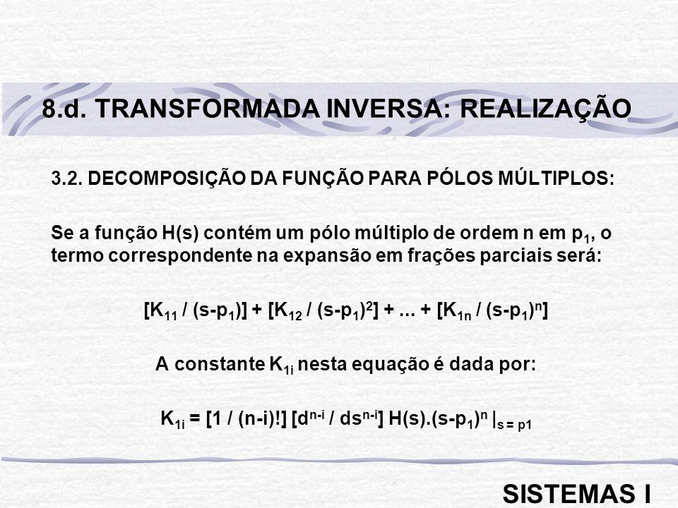 3.2. DECOMPOSIÇÃO DA FUNÇÃO PARA PÓLOS MÚLTIPLOS: Se a função H(s) contém um pólo múltiplo de ordem n em p 1, o termo correspondente na expansão em fr