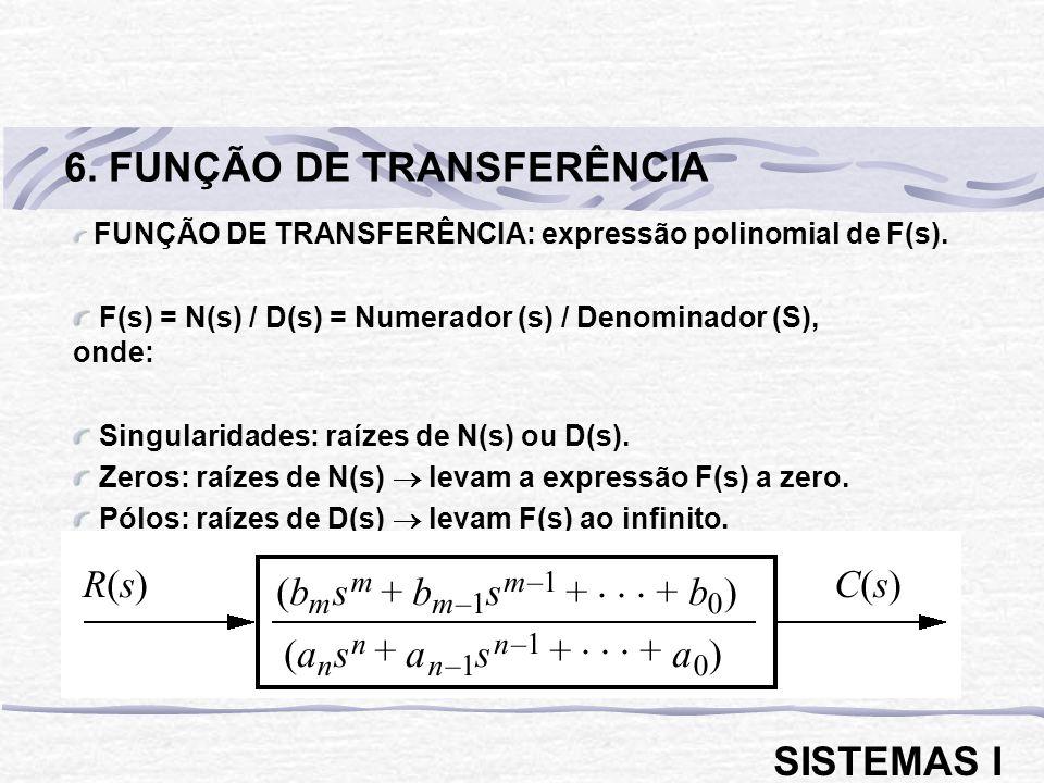 FUNÇÃO DE TRANSFERÊNCIA: expressão polinomial de F(s). F(s) = N(s) / D(s) = Numerador (s) / Denominador (S), onde: Singularidades: raízes de N(s) ou D
