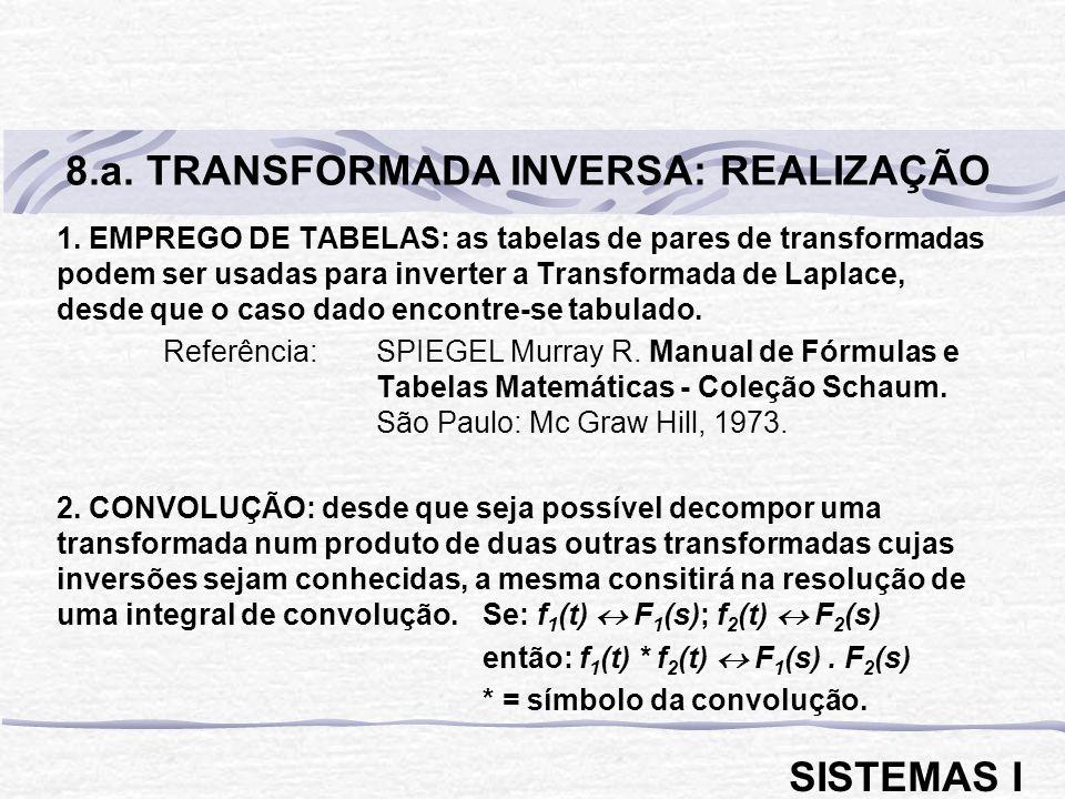 1. EMPREGO DE TABELAS: as tabelas de pares de transformadas podem ser usadas para inverter a Transformada de Laplace, desde que o caso dado encontre-s