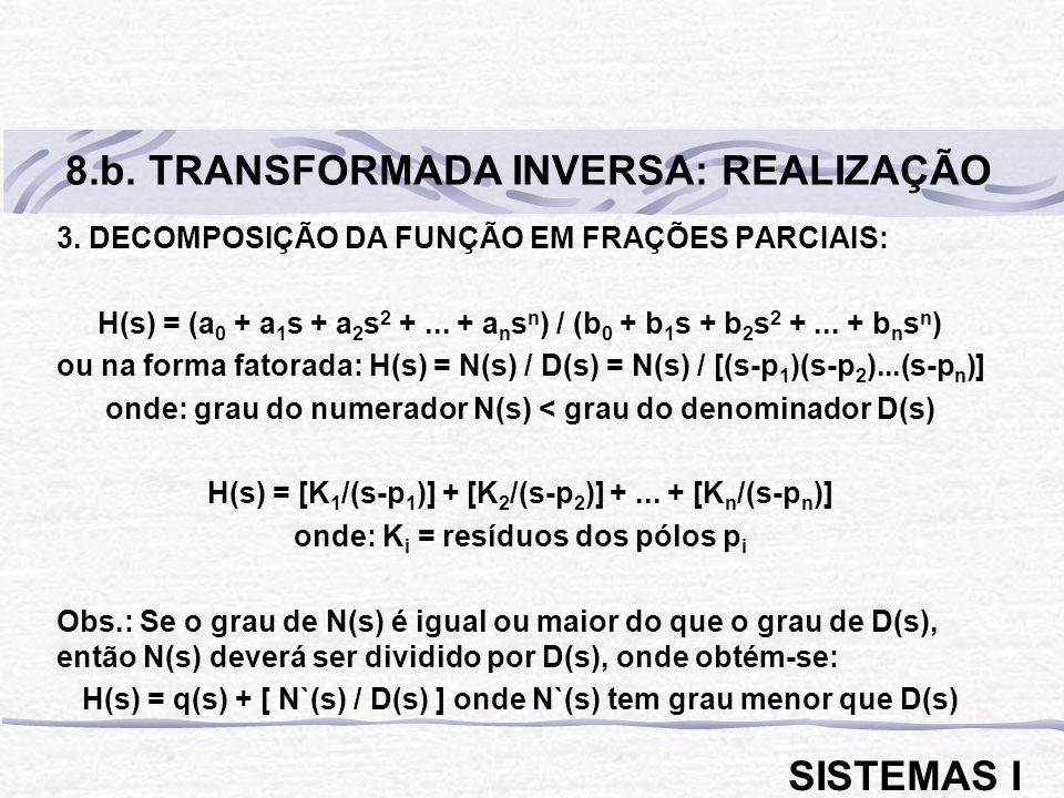 3. DECOMPOSIÇÃO DA FUNÇÃO EM FRAÇÕES PARCIAIS: H(s) = (a 0 + a 1 s + a 2 s 2 +... + a n s n ) / (b 0 + b 1 s + b 2 s 2 +... + b n s n ) ou na forma fa