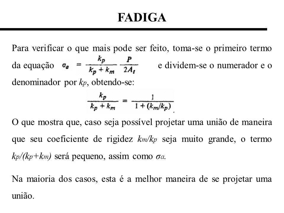 FADIGA Para verificar o que mais pode ser feito, toma-se o primeiro termo da equação e dividem-se o numerador e o denominador por k p, obtendo-se: O que mostra que, caso seja possível projetar uma união de maneira que seu coeficiente de rigidez k m /k p seja muito grande, o termo k p /(k p +k m ) será pequeno, assim como σ a.