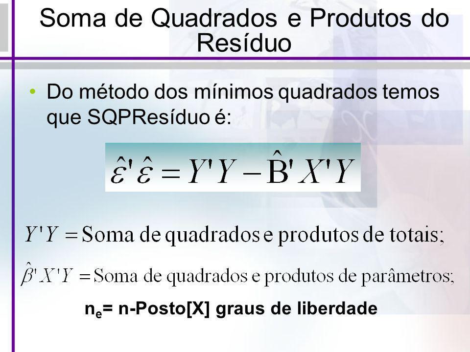 Soma de Quadrados e Produtos do Resíduo Do método dos mínimos quadrados temos que SQPResíduo é: n e = n-Posto[X] graus de liberdade