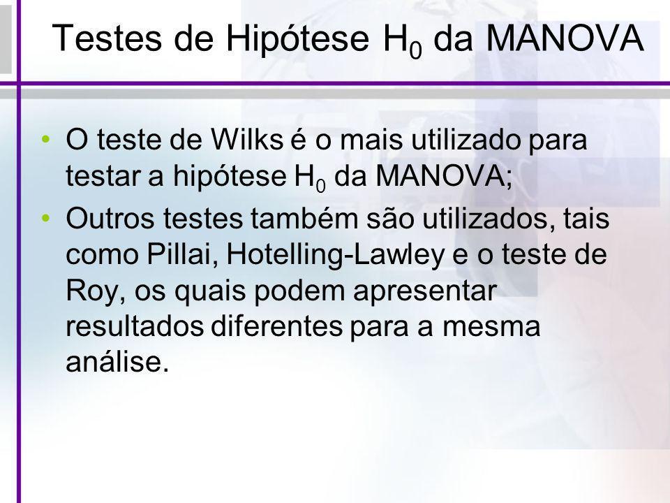 Testes de Hipótese H 0 da MANOVA O teste de Wilks é o mais utilizado para testar a hipótese H 0 da MANOVA; Outros testes também são utilizados, tais c