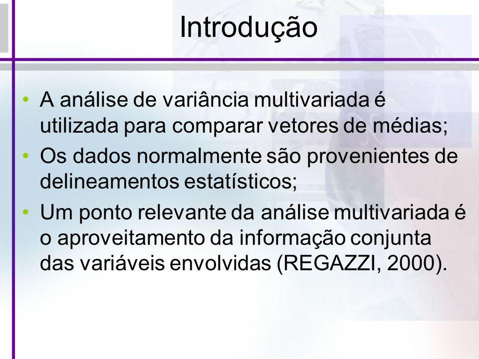 Introdução A análise de variância multivariada é utilizada para comparar vetores de médias; Os dados normalmente são provenientes de delineamentos est
