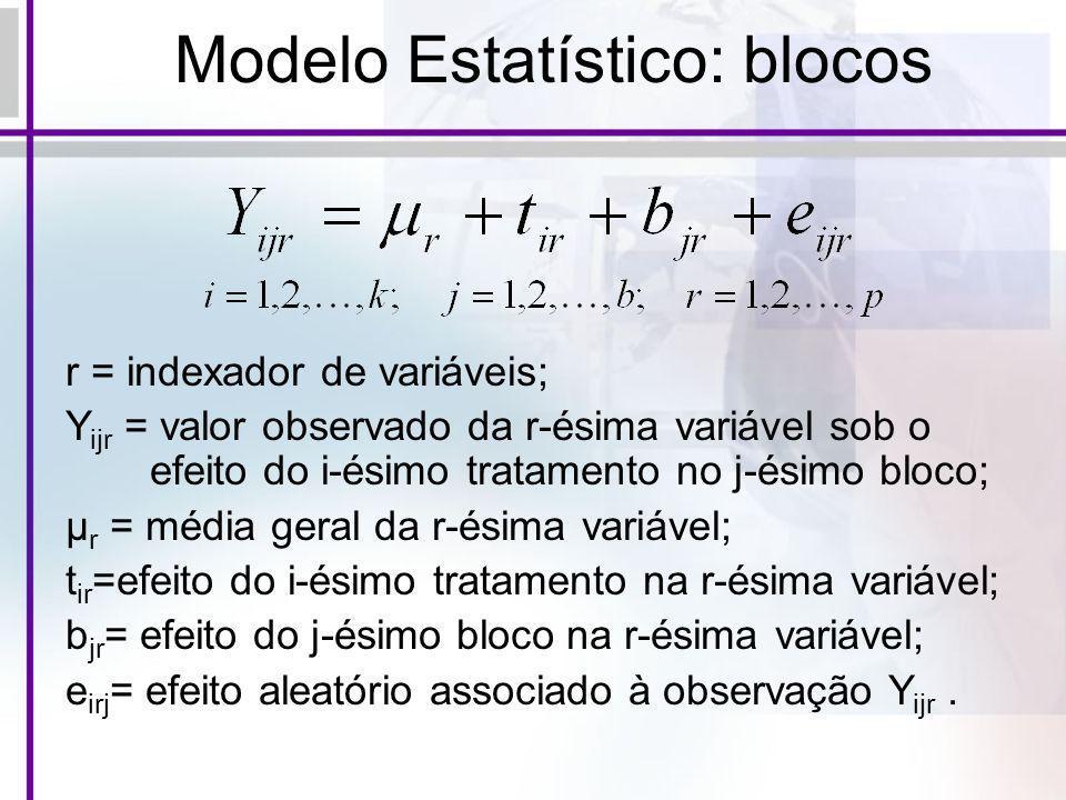 Modelo Estatístico: blocos r = indexador de variáveis; Y ijr = valor observado da r-ésima variável sob o efeito do i-ésimo tratamento no j-ésimo bloco