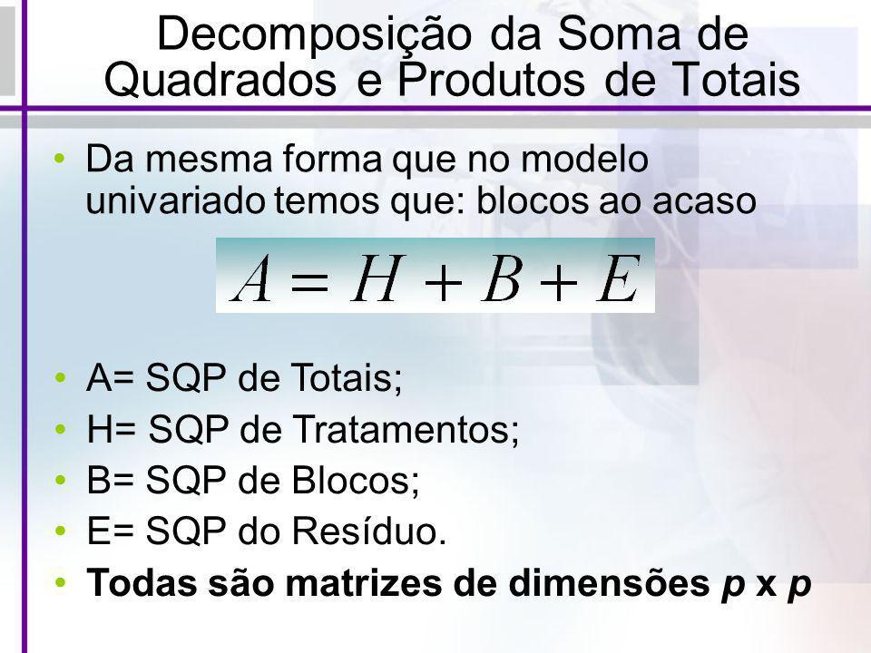 Decomposição da Soma de Quadrados e Produtos de Totais Da mesma forma que no modelo univariado temos que: blocos ao acaso A= SQP de Totais; H= SQP de