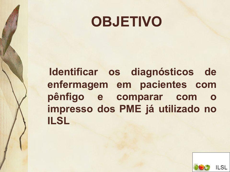 OBJETIVO Identificar os diagnósticos de enfermagem em pacientes com pênfigo e comparar com o impresso dos PME já utilizado no ILSL ILSL