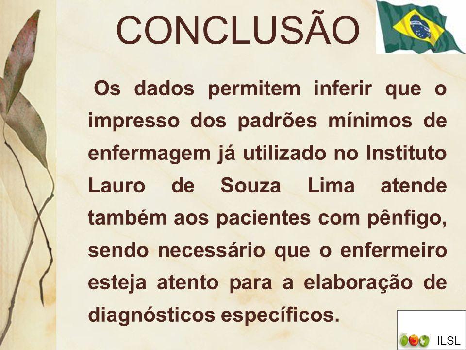 CONCLUSÃO Os dados permitem inferir que o impresso dos padrões mínimos de enfermagem já utilizado no Instituto Lauro de Souza Lima atende também aos p