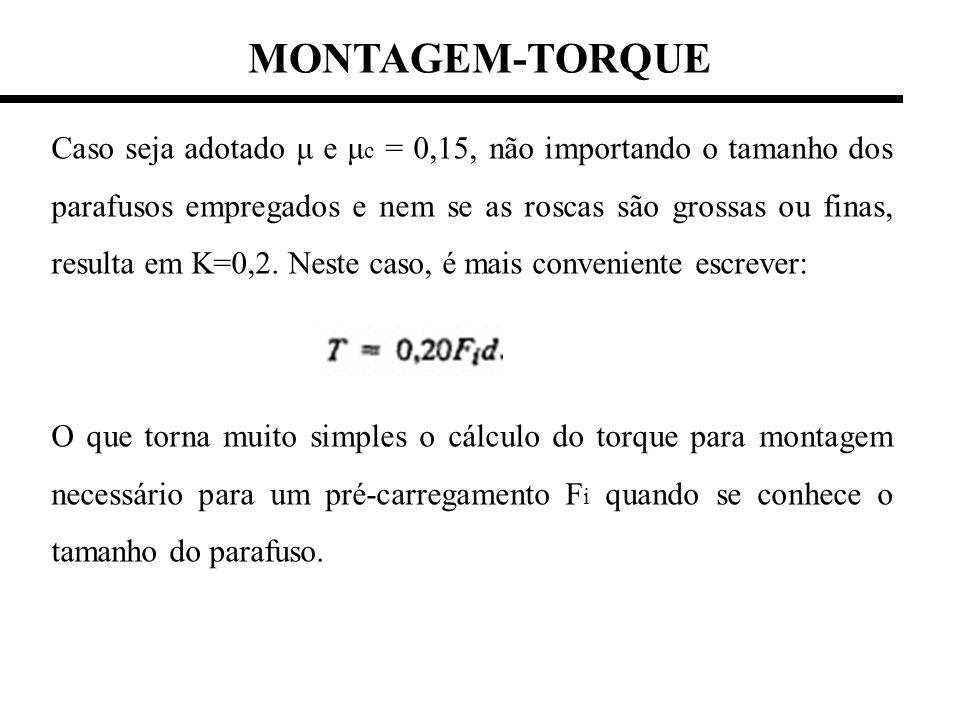 MONTAGEM-TORQUE Caso seja adotado μ e μ c = 0,15, não importando o tamanho dos parafusos empregados e nem se as roscas são grossas ou finas, resulta e