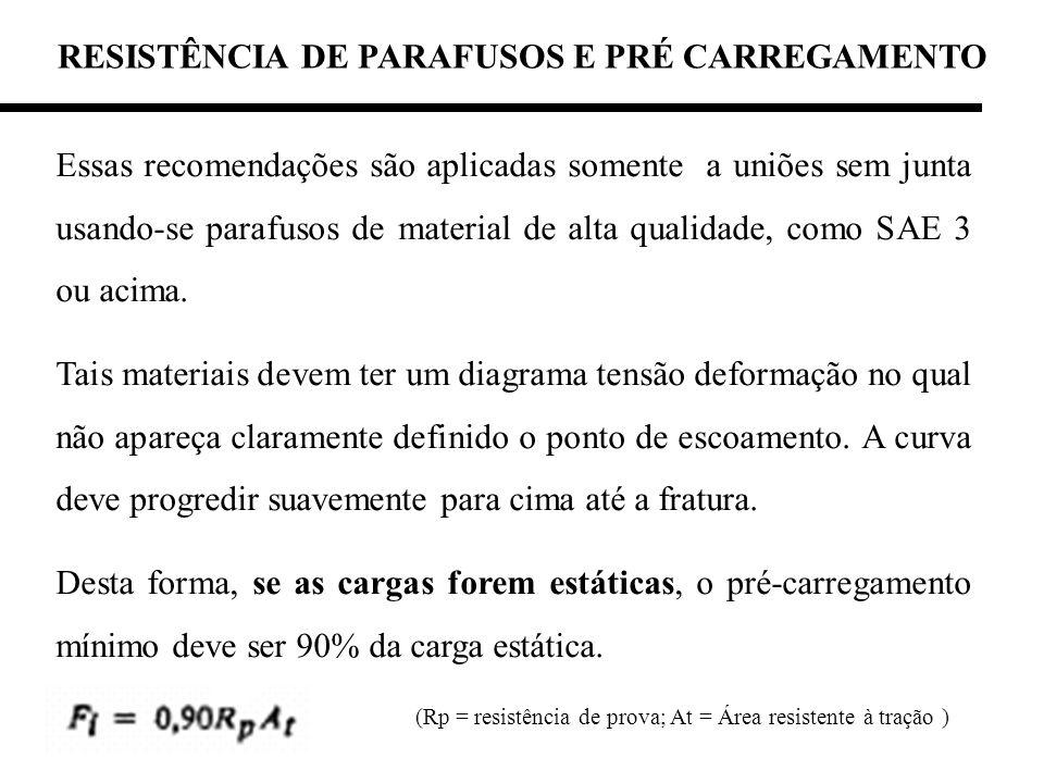 Essas recomendações são aplicadas somente a uniões sem junta usando-se parafusos de material de alta qualidade, como SAE 3 ou acima. Tais materiais de