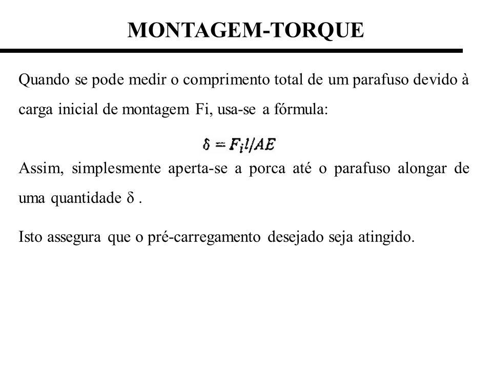MONTAGEM-TORQUE Quando se pode medir o comprimento total de um parafuso devido à carga inicial de montagem Fi, usa-se a fórmula: Assim, simplesmente a