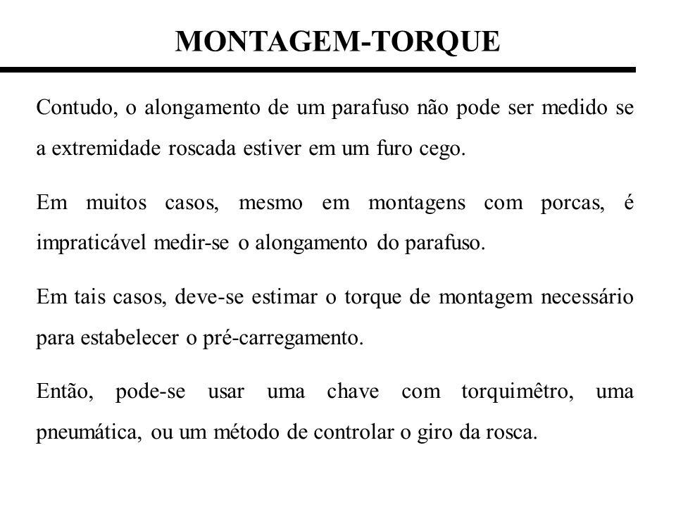 MONTAGEM-TORQUE Contudo, o alongamento de um parafuso não pode ser medido se a extremidade roscada estiver em um furo cego. Em muitos casos, mesmo em