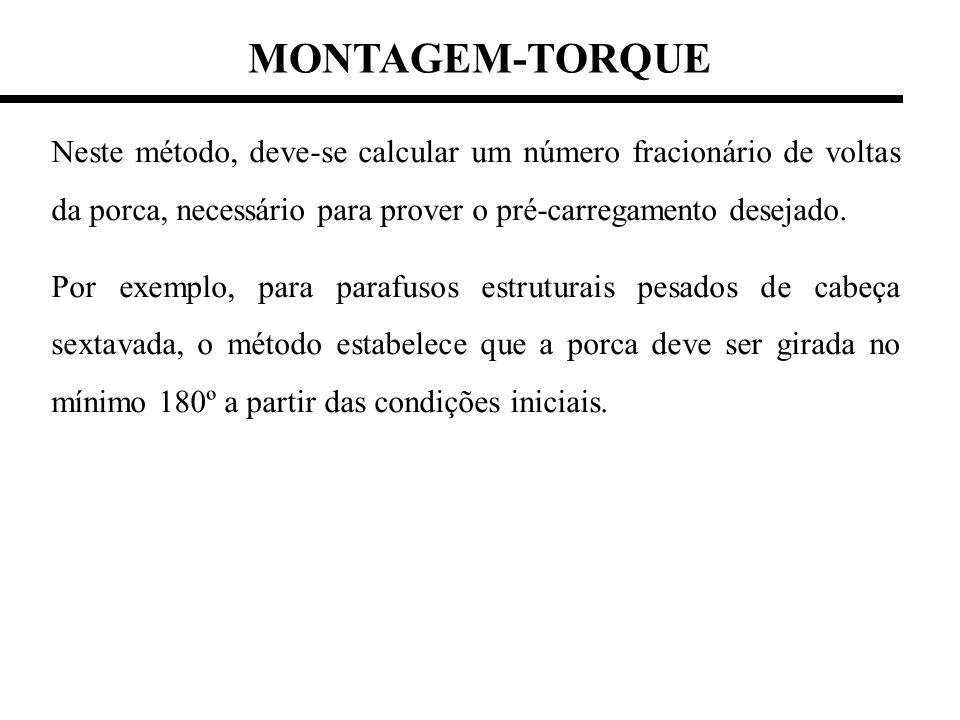 MONTAGEM-TORQUE Neste método, deve-se calcular um número fracionário de voltas da porca, necessário para prover o pré-carregamento desejado. Por exemp