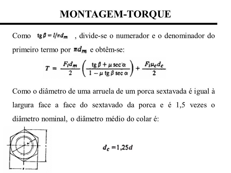 MONTAGEM-TORQUE Como, divide-se o numerador e o denominador do primeiro termo por e obtêm-se: Como o diâmetro de uma arruela de um porca sextavada é i