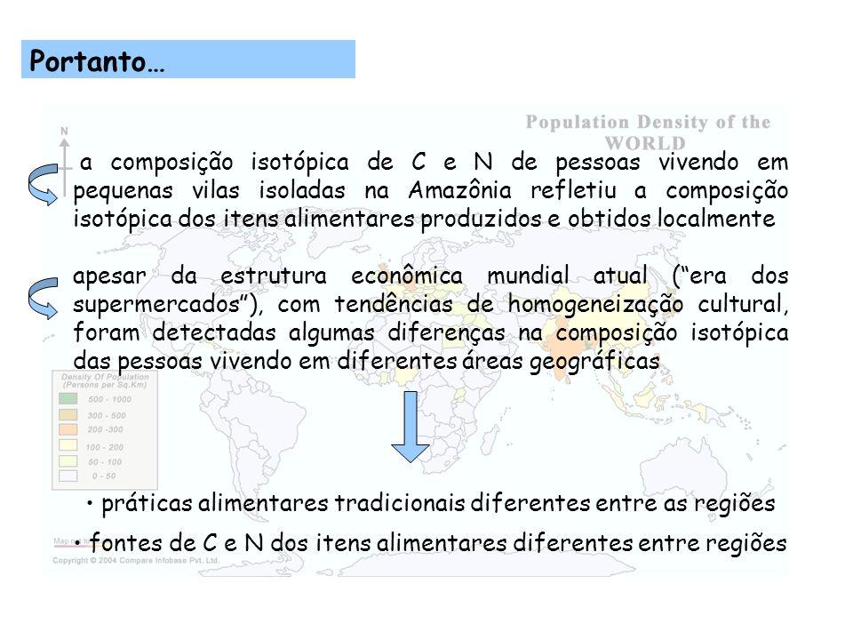 Portanto… a composição isotópica de C e N de pessoas vivendo em pequenas vilas isoladas na Amazônia refletiu a composição isotópica dos itens alimenta