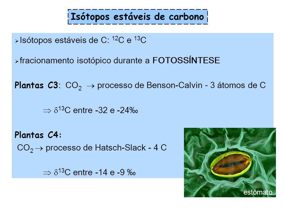 Isótopos estáveis de N: 14 N and 15 N A variação na composição isotópica de N encontrada tanto em plantas como animais depende da composição isotópica de N das substâncias por eles assimiladas: 15 N = 0 - leguminosas (feijão, soja) - processo de Haber-Bosch – produção de fertilizantes 15 N >> 0 – alimentos que utilizam produtos derivados da MO (amônio e nitrato do solo) Os alimentos de origem animal são mais ricos em 15 N do que os de origem vegetal Isótopos estáveis de nitrogênio